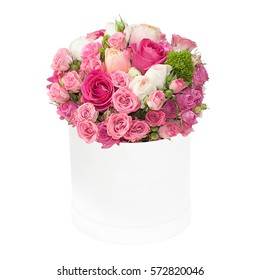 Bouquet of pink roses in the box isolated on white background