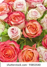 bouquet of pink roses in detail