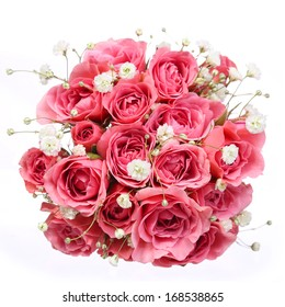 Bouquet of Pink Roses isolated on white background. Bridal bouquet