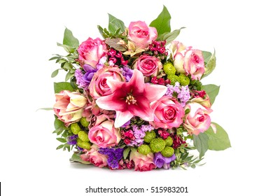 Bouquet of pink roses isolated on a white background