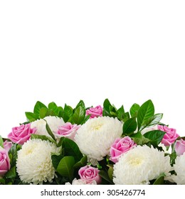 Bouquet from pink roses and white chrysanthemums isolated on white background