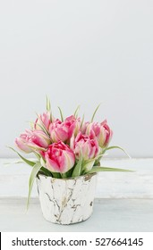 Bouquet of pink tulips, copy space