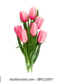Bouquet of pink tulips isolated on white background with clipping path. Top view.