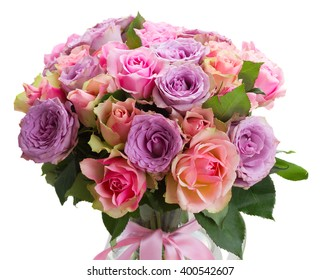 bouquet of pink and violet  fresh roses closeup  isolated on white background