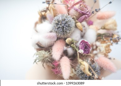 Bouquet with pink, white, pastel and violet dried flowers