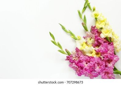 bouquet of pink and yellow gladiolus on white background