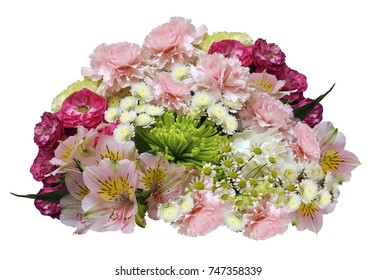 Bouquet of pink-yellow-white flowers on an isolated white background with clipping path.  no shadows. Closeup. Roses cloves chrysanthemum chamomile lilies. Nature.