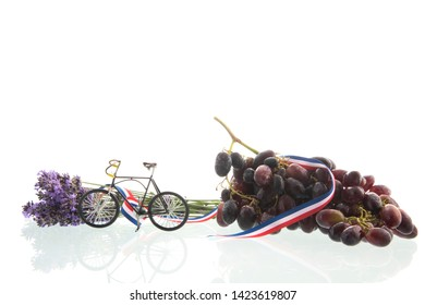 Bouquet purple Lavender with bicycle and wine grapes solated over white background