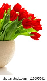 bouquet of red fresh spring tulip flowers over white background
