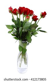 Bouquet of red roses in a glass vase isolated on white background