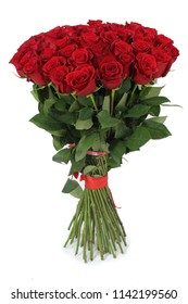 Bouquet of red roses on a white background, tied with a red ribbon.