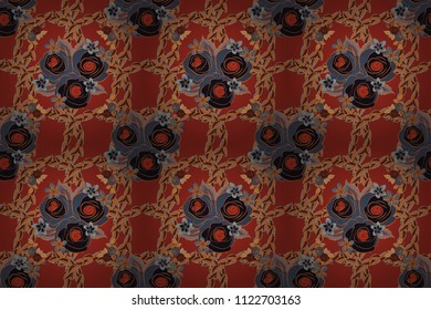 Bouquet of retro plants. Floral illustration. Roses seamless pattern with flowers in Victorian style. Abstract rose background in orange, red and gray colors. Raster vintage design.