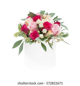 Bouquet of roses in the box isolated on white background