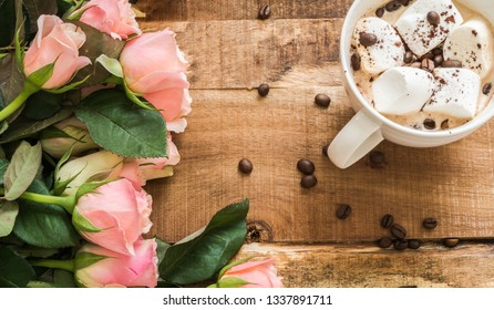Bouquet roses and cup of coffee