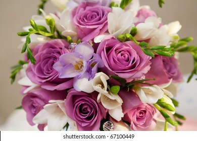 bouquet of roses and freesias