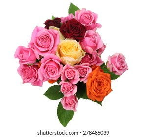 Bouquet of roses with leaves