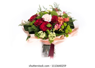 Bouquet of roses and other flowers isolated on white background