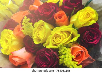 Bouquet of roses in supermarket