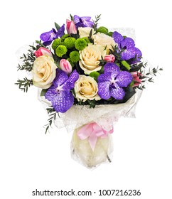 Bouquet with roses, tulips and orchids