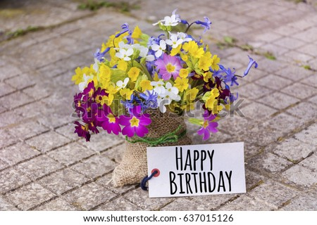 Bouquet Spring Flowers Happy Birthday Card Stock Photo Edit Now