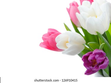 Bouquet of spring flowers isolated on white with copy space