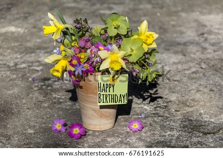 Bouquet Spring Flowers Narcissus Happy Birthday Stock Photo Edit
