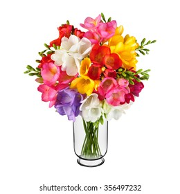 Bouquet of spring flowers in vase isolated on white background