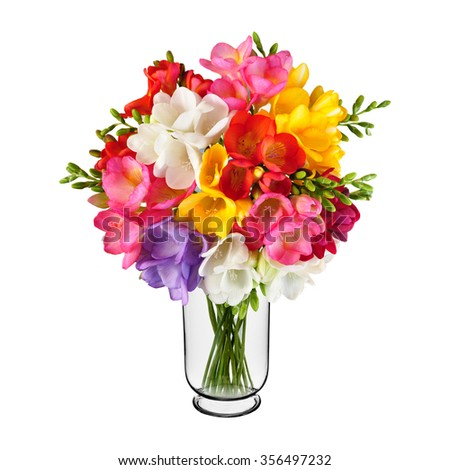 Bouquet Spring Flowers Vase Isolated On Stock Photo Edit Now