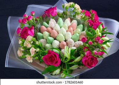 bouquet of strawberries, roses and flowers