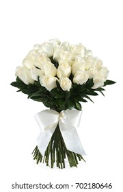 Bouquet of stylish white roses isolated on white