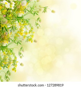 Bouquet of summer flowers  with bokeh and copy space,  floral background