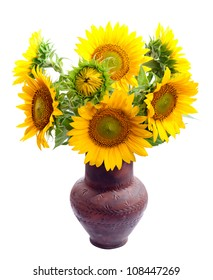 Bouquet of sunflowers in a clay vase. isolation