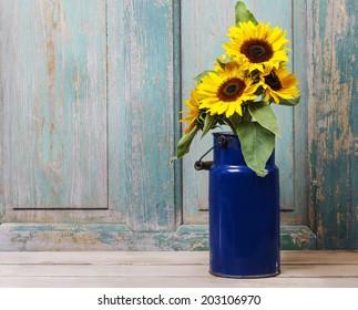 Bouquet of sunflowers, copy space