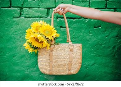 Bouquet of sunflowers. Yellow summer flowers.