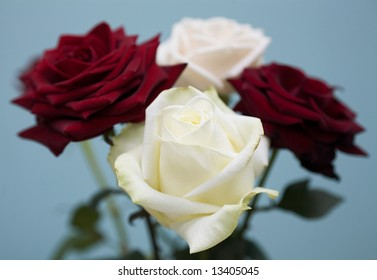 Bouquet from two large dark-red roses and two white roses