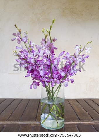 Bouquet Violet Orchids Flower Their Vase Stock Photo Edit Now