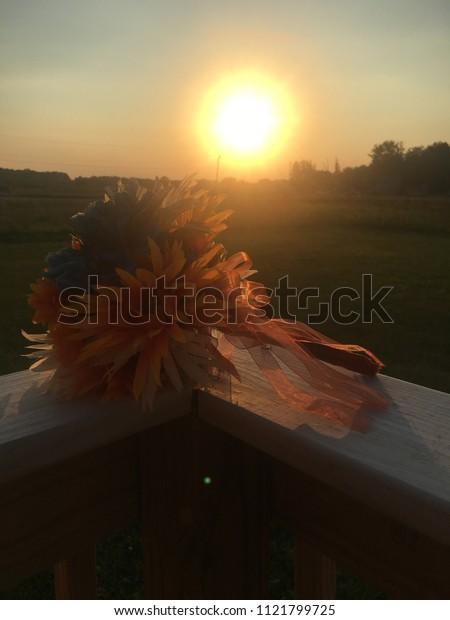 Bouquet Wedding Day Sunset