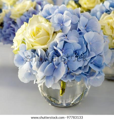 Bouquet White Blue Flower Vase Glass Stock Photo Edit Now 97783133