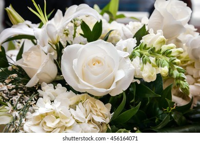 Bouquet of white roses and white lilies, wedding concept