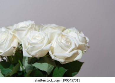 Bouquet of white roses on a white background close-up. flowers for valentine's day and march 8