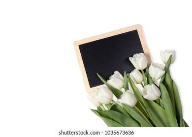 the bouquet of white tulips with black board on the white background