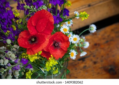 Bouquet of wild poppies and daisies flowers