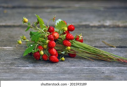 Bouquet of wild strawberry with berries on wooden table