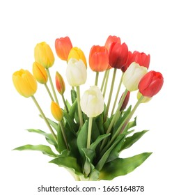 Bouquet of wonderful tulip flowers on a white background.