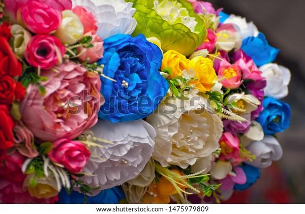 Bouquets Artificial Flowers Sold Fair Corollas Stock Photo Edit Now 1475979809