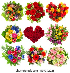 Bouquets of colorful flowers for Birthday, Wedding, Mothers Day, Easter, Holidays. Red Roses