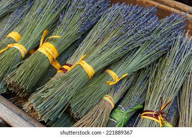 Bouquets of dry lavender for sale in Aix en Provence town, France
