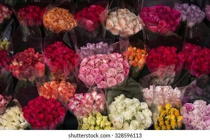 Bouquets of roses in flower street market