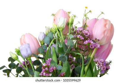 bouquets of tulips, other spring flowers and greenery isolated on white background