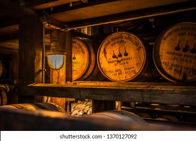 Bourbon barrels aging in a rickhouse at the Woodford Reserve Distillery in Versailles, KY on June 13, 2016.